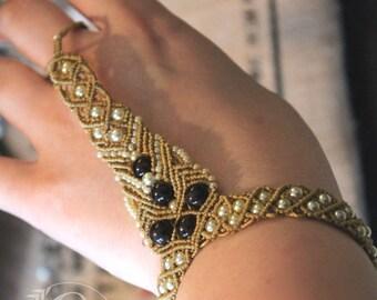 Macrame ring bracelet white sand chocolate, boho, jewellery, gypsy, indie, beach, summer, brown, fiber, woven, design, woven, dancer, beige