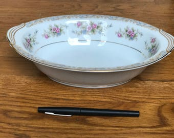 """Noritake """"Somerset"""" 10"""" Oval Vegetable Bowl with Scroll in Mint Condition!"""