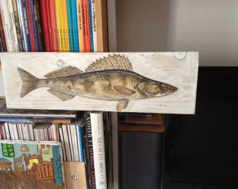 Perch fish painted on wood