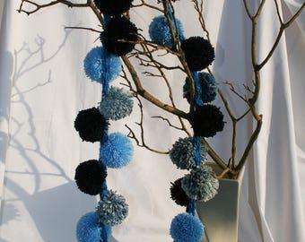 Hand knitted bright blue scarf, dark and light blue wool & denim hand made pom poms, warm, fluffy fashion scarf