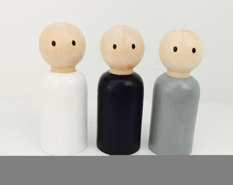 Wooden Peg Dolls - Monochrome Trio