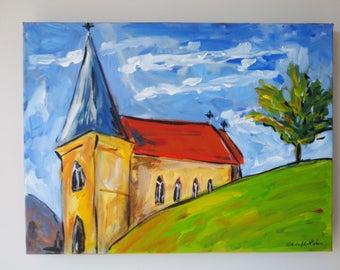 Original Acrylic Painting on Canvas, Bold Expressive Style, Ready to Hang, St John's Church, Tasmania