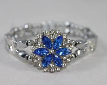 Blue Flower & Silver High Quality Magnetic Bracelet