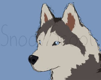 Siberian Husky Digital Art Print