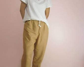 Linen Cropped Pants / Slightly Tapered Pants / Loose Linen Pants