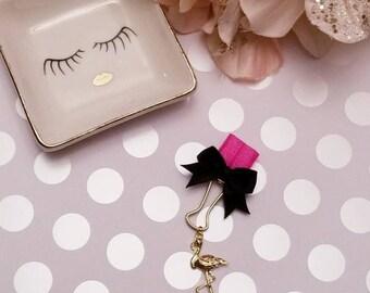 Pink Flamingo; pen clip, pen loop