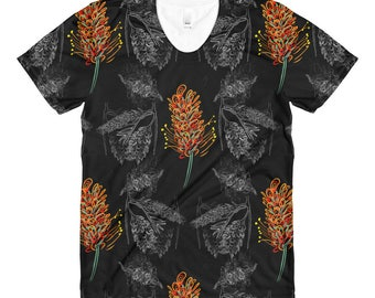 Australian Flowers - women's crew neck t-shirt - Beautiful Red, White and Black Grevillia Shirt