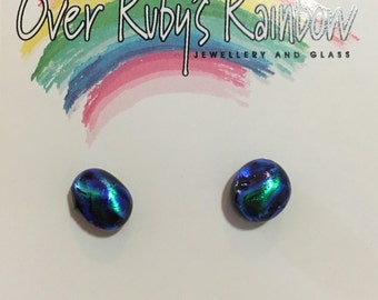 Blue green dichroic glass tiny studs