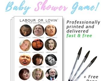HILARIOUS Baby Shower Game - LABOUR or LOVIN' - Various Packs - Boy, Girl, Unisex
