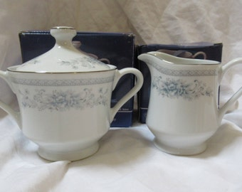 "AMERICAN LIMOGES ""Bridal Bouquet"" Pattern - Creamer & Sugar - New Old Stock"