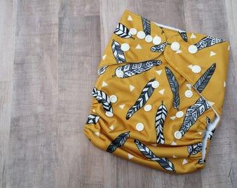Mustard Feather Pocket Cloth Diaper Set