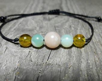 Sunstone, Agate, Citrine, Motivation Bracelet, Healing Crystal Bracelet, Good Luck, Minimalist bracelet, Prosperity, Gemstone Jewelry