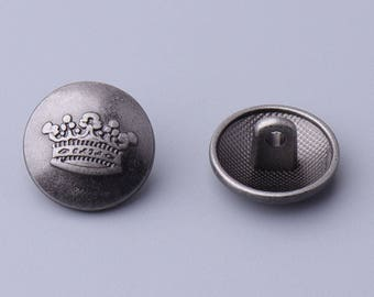 10pcs 15mm round metal vintage button light black button embossed with a crown