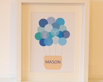 Personalised Print - 'Up, Up and Away' - Blue