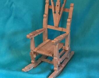 Wooden clothespin handmade rocking chair