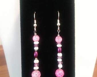 Glittery Pink Dangle Earrings