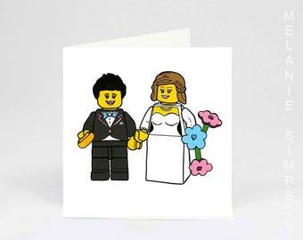 Lego Brides lesbian wedding archival cotton art card