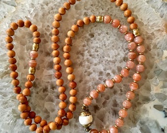 Sunstone and Sandalwood Mala
