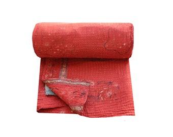 Vintage Kantha Quilt Reversible Kantha Blanket Cotton Sari Patchwork Kantha Bedspread Twin Size Kantha Throw Bohemian Kantha Bed Cover