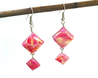Earrings angular hanging//polymer Clay jewelry Fimo//gift for women//