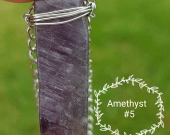 Amethyst Wire Wrapped Crystal Necklace. #5