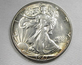 1947 D Walking Liberty Half Dollar AU Coin