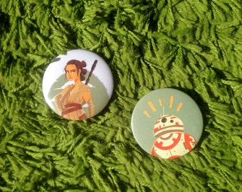"Star Wars 2,25"" buttons: BB-8 and Rey"