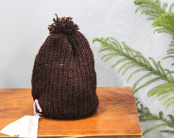 Brown Pom Pom Hand knit Beanie