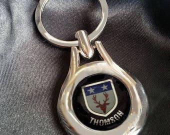 THOMSON Chrome Key Ring Fob Keyring Scottish Irish Clan Gift Idea