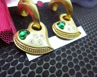 Fiber Street VINTAGE! classic 90s beautiful metal ART! amazing design gold tone vintage earrings/ lovely & gorgeous! high sense! green heart
