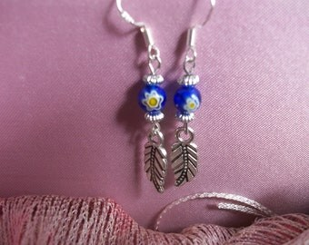Sterling silver, millefori glass beads and tibetan silver feather earrings