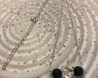 Swarovski Crystal and Lava Stone necklace