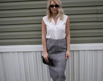 Vintage Gray Plaid Midi Skirt