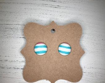 Spring striped earrings, button earrings