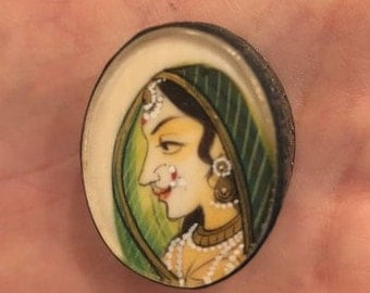 Vintage hand painted Maharani Indian silver pill box