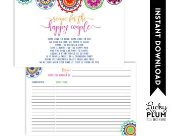 Fiesta Recipe Card / Mexican Recipe Card / Fiesta Bridal Recipe Card / Fiesta Couples Recipe Card / Engagement / DIY Printable FT01