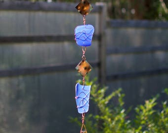 Wind Chimes Cobalt Blue Glass Copper Brass Handcrafted Outdoor