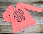 Girls High Low Striped Back Shirt with Appliqué Patch ...