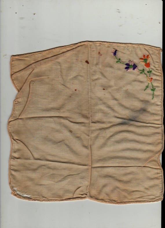 Orange and Blue Floral Handkerchief - Vintage Linens