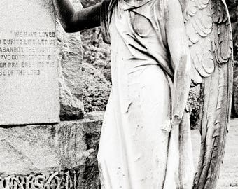 Black and White Cemetery Angel Photograph, cemetery art, gothic angel, black and white photography
