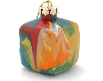 """Hand Painted Christmas Ornaments - 2"""" Squared Glass Cube Painted Inside Multicolor"""