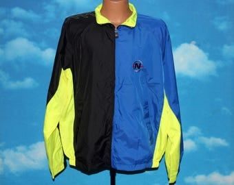 Nautica Competition Blue Black Neon Yellow Windbreaker Jacket Large Vintage 1990s