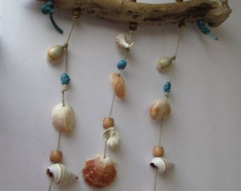 Turquoise Seashell and Driftwood Wind Chime Mobile, Perfect for Granny, Mom, Sister, Girlfreind, Wife, Daughter, or Aunt That Loves Shells