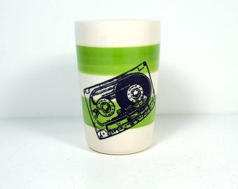itty bitty cylinder / vase / cup with a Mixtape on Leaf Green stripes READY TO SHIP