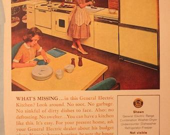 Vintage Good Housekeeping 1960's magazine advertisement General Electric Modern Kitchen