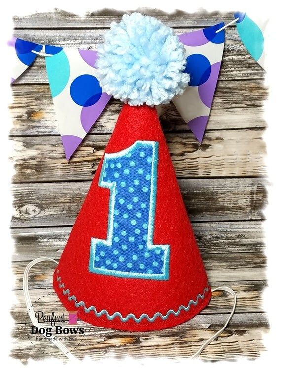 Dog Birthday Hat, Red Dog Party Hat, Birthday Hat for Dogs, First Birthday