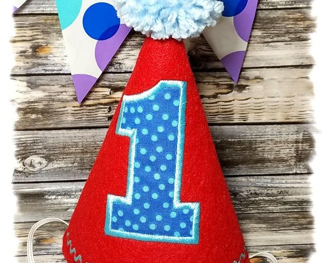Dog Birthday Hat, Red Dog Party Hat, Birthday Hat for Dogs, First Birthday, Gotcha Day