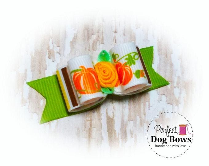 Pumpkin Dog Bow-Fall-Halloween Pet Bow -Autumn Dog Hair Bow- Pumpkins Grooming Bow