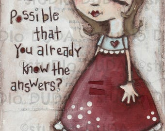 Original Folk Mixed Media Whimsical Painting -The Answers - Free U.S. Shipping
