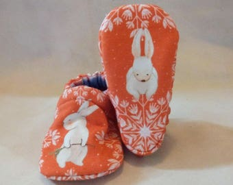 Snowflake Bunny: Soft Sole Baby Shoes 3-6M